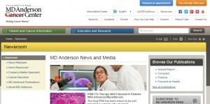 高橋氏が勤務するテキサス州立大学MDアンダーソンがんセンターのホームページ。2万人近くのスタッフが働く同センターでは、年間1000以上の臨床試験が進行しているそうです(2013年実績)。